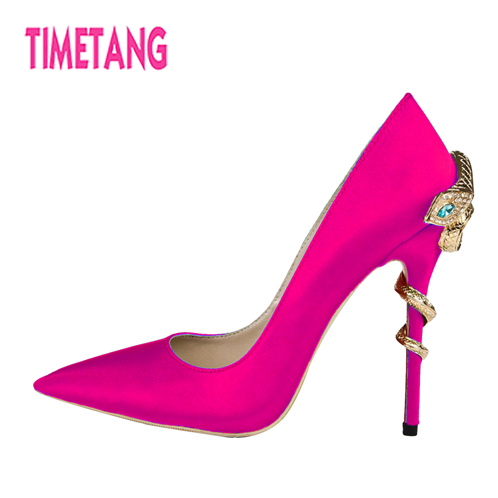 TIMETANG New for Women Shoes Unique Crystal Snake Metal Decoration Sexy Pointed Toe Thin Heel Woman Pumps Party/Banquet/OL/Dress 2018 sexy horsehair high heel shoes woman pointed toe leopard metal thin heel pumps women fashion party shoes dress