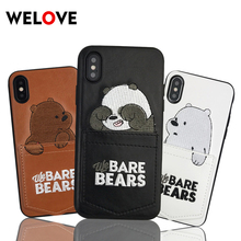 Hot Cartoon Leather We Bare Bears Card Pocket Phone Case For iPhone 7 case cute Embroidery Cover 6 6s 8 Plus XR XS