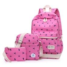 Модные текстильные школьные рюкзаки 3 шт./компл., рюкзак для девочек, школьные сумки, набор рюкзаков для подростков, Женская дорожная школьная сумка на плечо