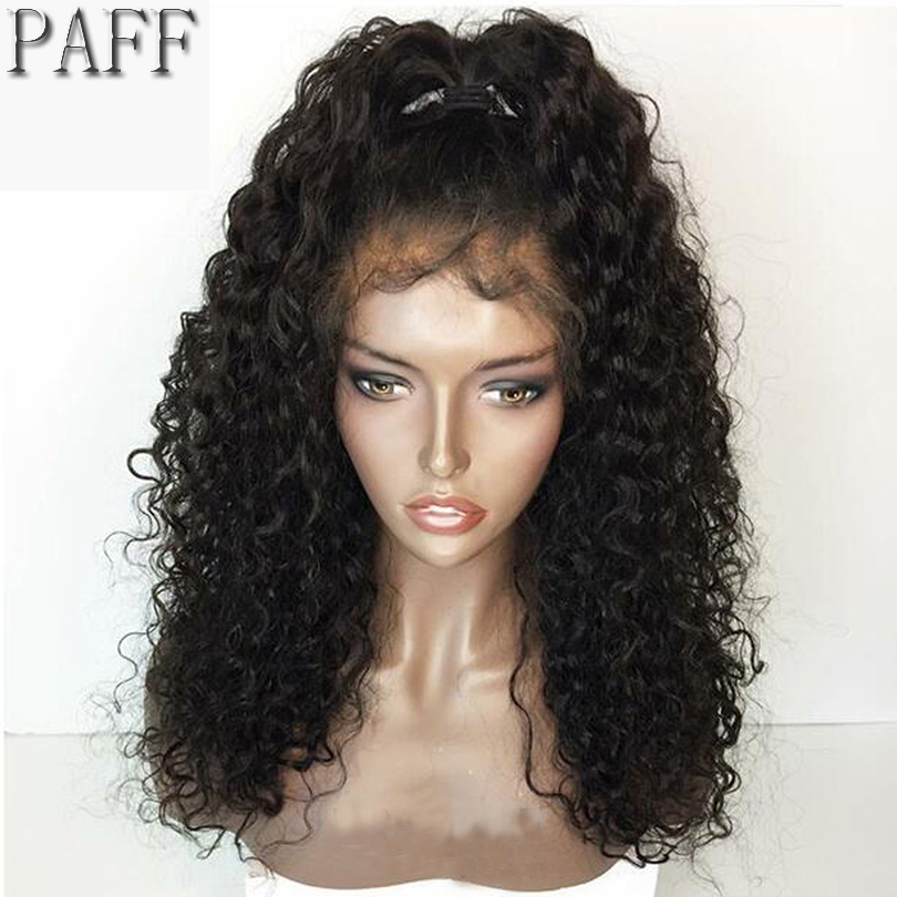 36C Curly Lace Front Human Hair Wig Glueless 250% Density Brazilian Remy Hair Wig With Baby Hair Free Part Bleached Knots