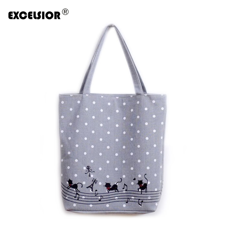 EXCELSIOR Women's Cute Cartoon Music Cats Printed Shopping Handbag Ladies One Shoulder Canvas Bags Female Beach Bag Sac A Main
