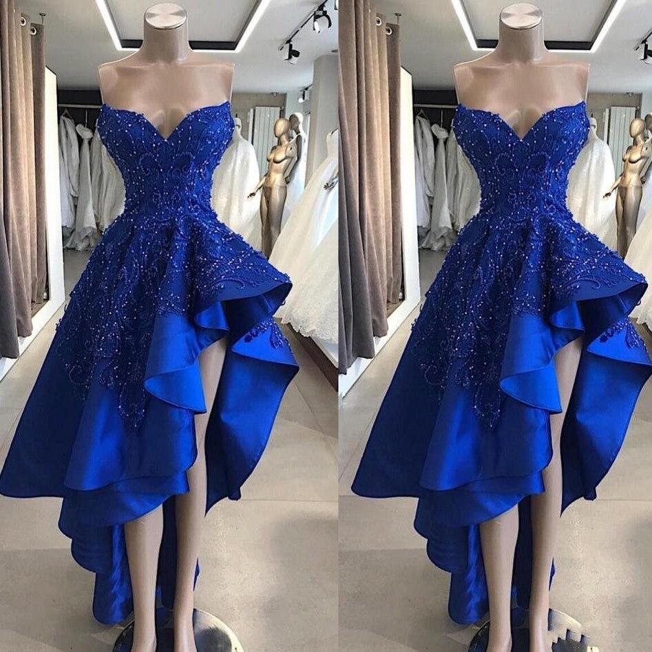 Hi low Royal Blue Formal Dresses Long Formal Dress Bead Sleeveless robe de soiree Abendkleider 2019
