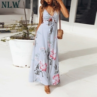 NLW Summer Beach Chiffon Maxi Dress Women Girl Floral Print Bow Tie Button Up Long Pary Dress Boho Elegant Dress Vestido Festa