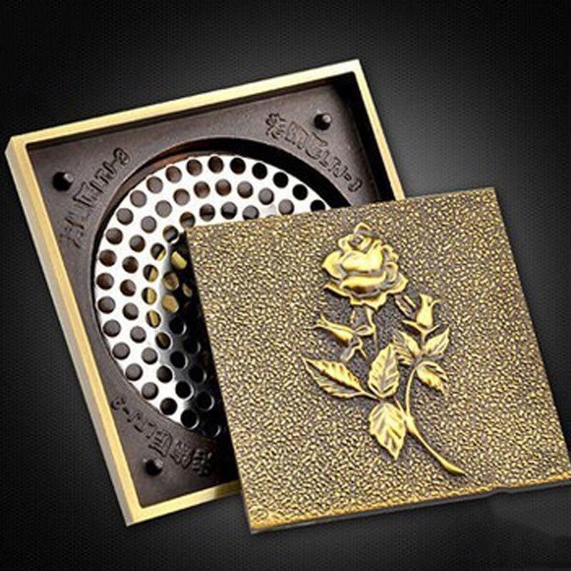 Drain de sol en cuivre entier couvercle de drain de sol anti odeur en acier inoxydable art archaize drain de sol authentique européen GD10182 - 4