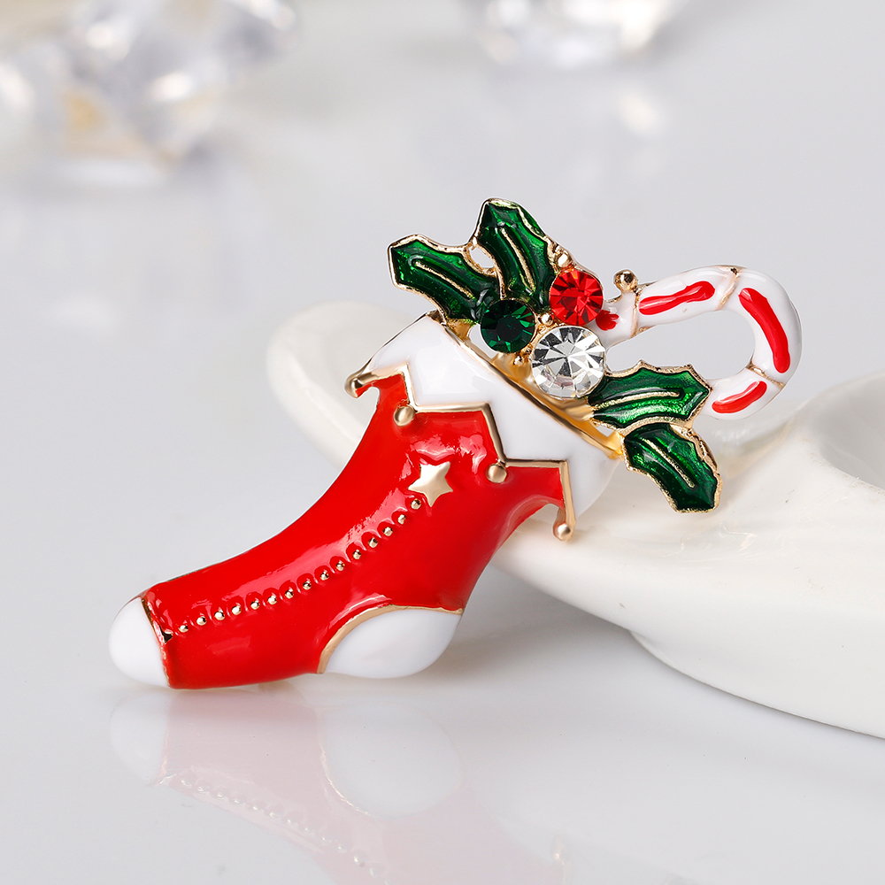 Cute Enamel Christmas Stocking Brooches For Women Gold Color Brooch ...