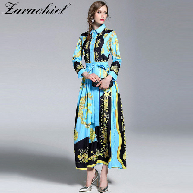 67096faca40a7 US $29.99 |New 2019 Runway Maxi Dress Women's Turn Down Collar Long Sleeve  Elegant Belt Bow Conch Seashell Print Blue Vintage Long Dress-in Dresses ...