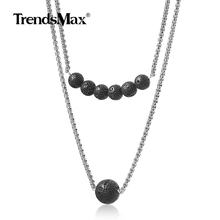 Multi-layer Lava Beads Stone Pendant Necklace for Mens Womens  Stainless Steel Chain Choker Collares Chakra Energy Gift HDN110(China)