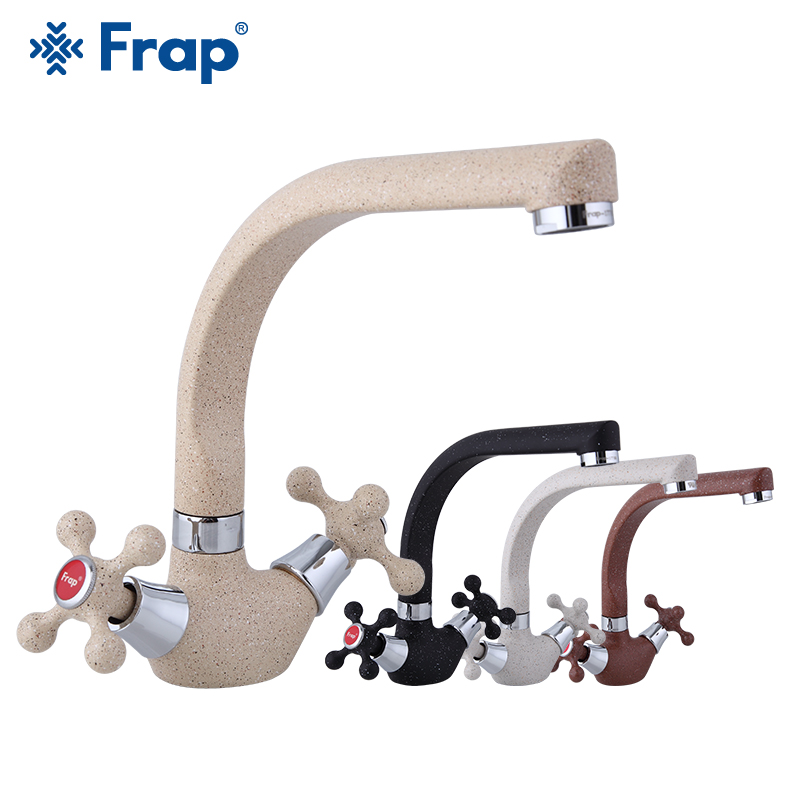 Frap Spray Painting Kitchen Faucet Cold And Hot Water Mixer Tap Double Handle 360 Rotation Kitchen Sink Mixer Faucet Tap Tapware