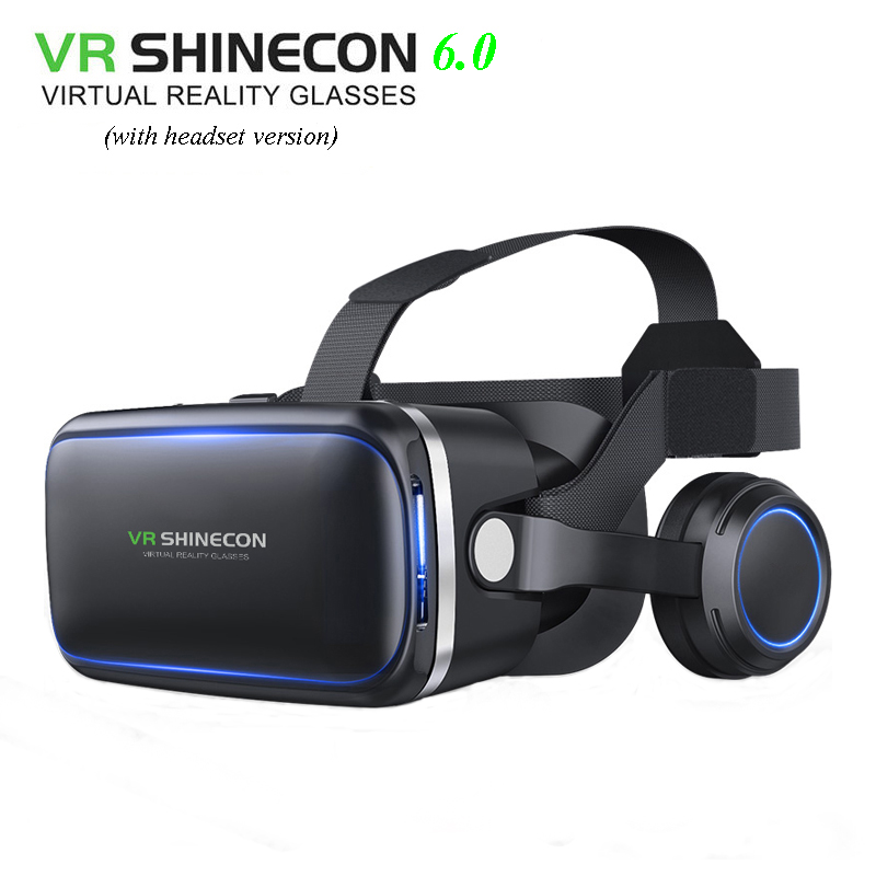 VR Shinecon 6.0 3D glasses Virtual Reality goggles google Cardboard VR BOX 2.0 VR headset with headphones gampad For smartphone