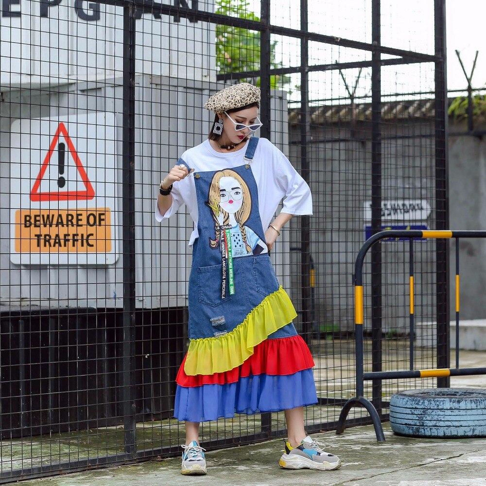 Robes Mumuzi Femme Couleur Réglable Robe D'été Femmes Salopette Sangle Lâche Jeans Ruches Casual Denim 1w6Tq