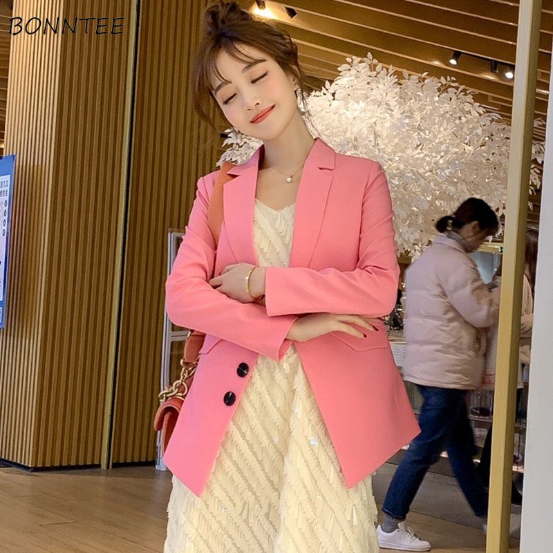 Blazers Women Long Sleeve Coat Slim Elegant Leisure Solid Chic Womens Notched Single Breasted Clothes Korean Style Ladies Blazer