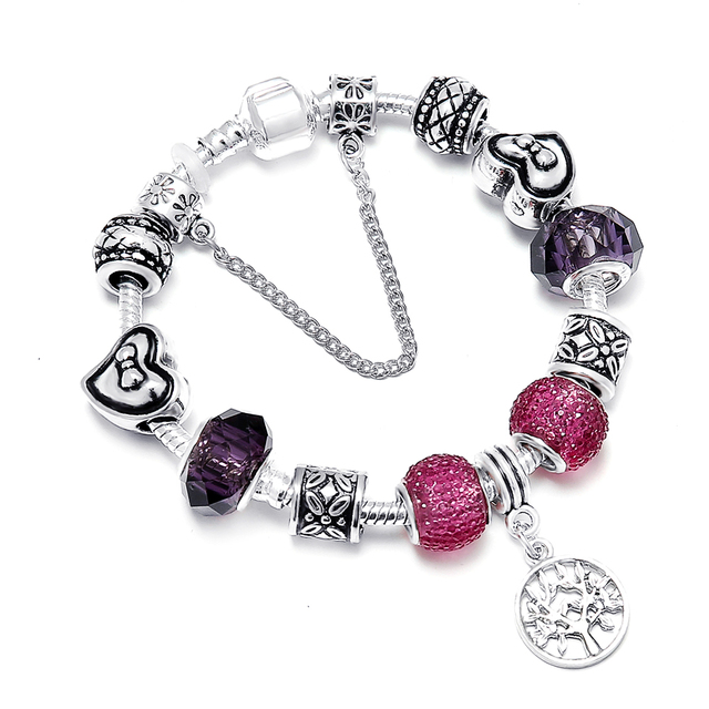 SPINNER Tree Of Life Pendant DIY Charm Bracelet Purple Crystal Butterfly Tie Hea