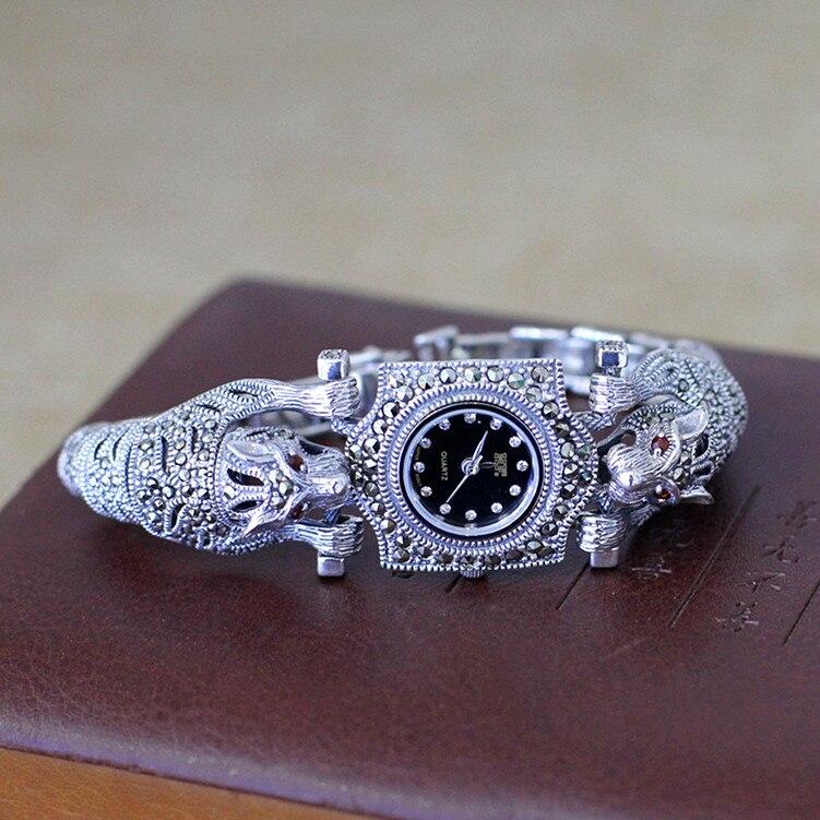 Nouveauté limitée guépard montre classique bijoux fins S925 argent pur Thai argent léopard strass Bracele livraison directe