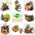 17-Style Cartoon Cute totoro flower pot farmhouse decor Resin Creative Crafts planters Home office garden succulent plant pot