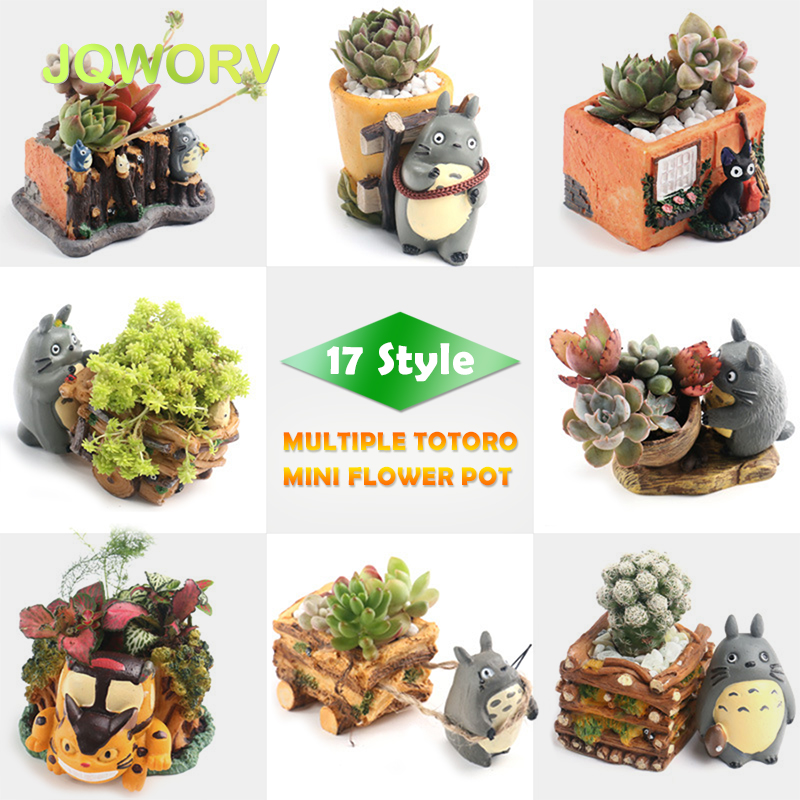 17-Style Cartoon Cute Totoro Flower Pot Farmhouse Decor Resin Creative Crafts Planters Home Office Garden Succulent Plant Pot