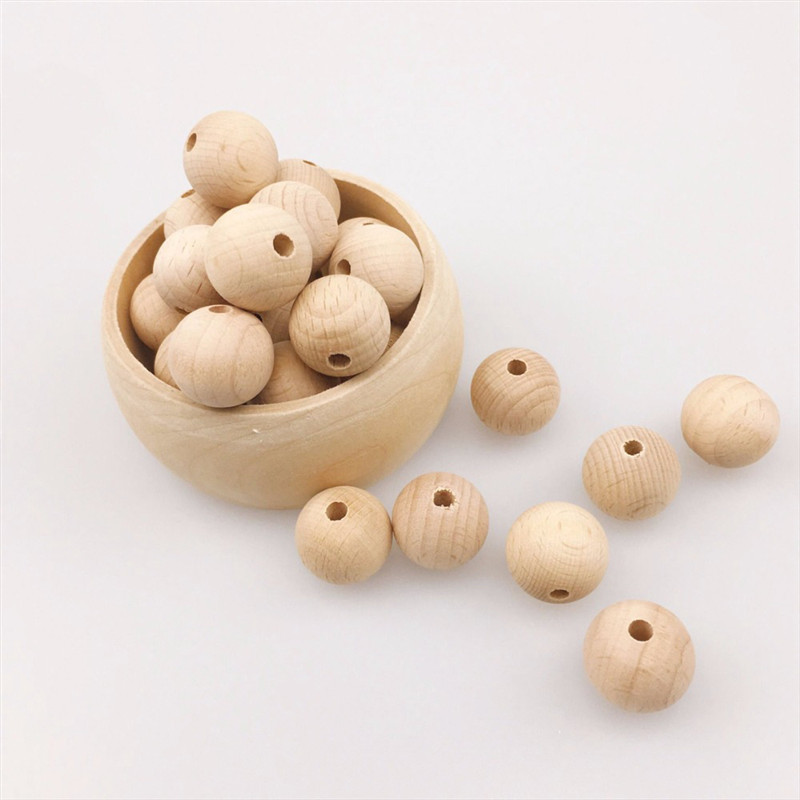 Wooden Beads Teething Beads Chewable 10-150PCS Round Wood Teether Beads For Baby Care Toys Beads Wooden Teething Beads For Baby