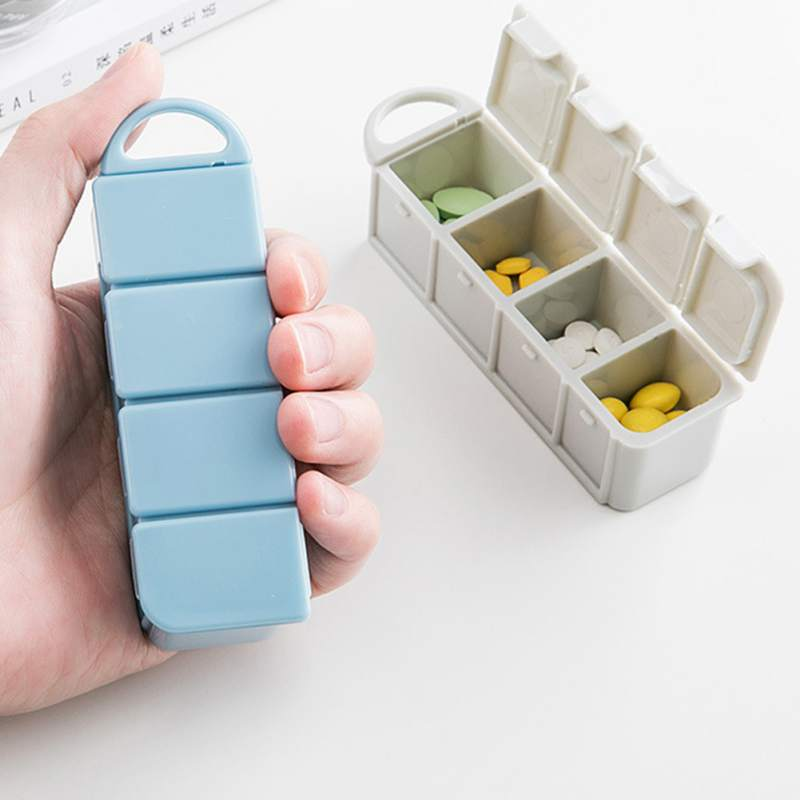 Tray Pill-Organizer Case Medicines-Boxes 4-Compartments Portable With Convenient To Carry