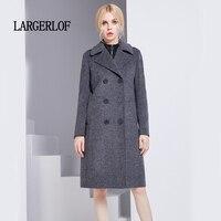 LARGERLOF Suit Blazer women Double Breasted Blazer Wool Plus Size Women Winter Dress Blazers BR47004