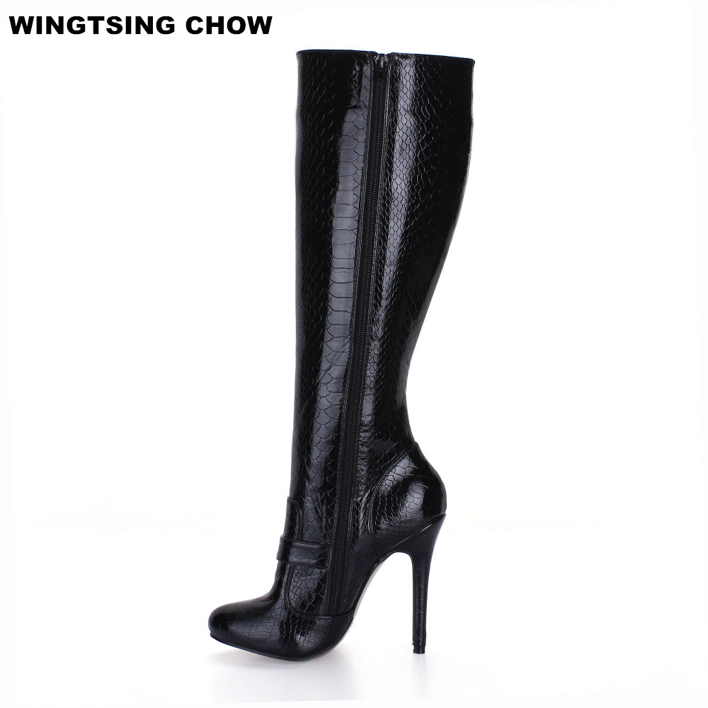 цены Autumn Buckle Snake Style Knee High Boots Ladies Shoes Sexy Black High Heels Women Boots Pumps 12cm Plus Size 43