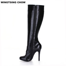 Autumn Buckle Snake Style Knee High Boots Ladies Shoes Sexy Black High Heels Women Boots Pumps 12cm Plus Size 43