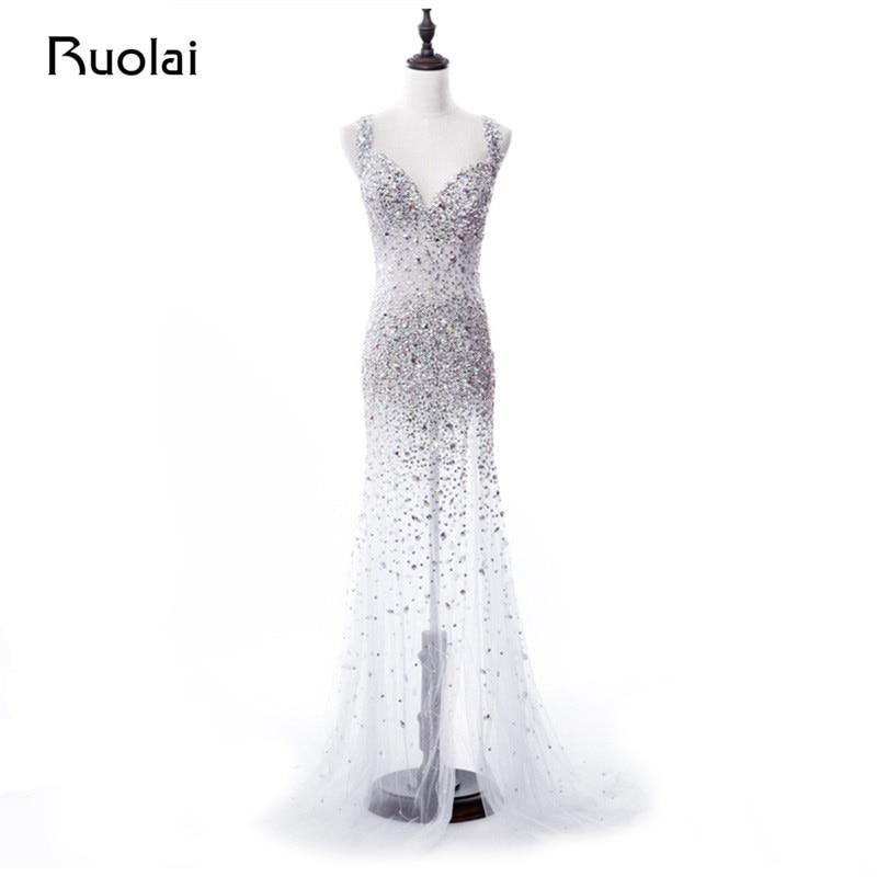 Vraie Image De Luxe En Cristal Perlé Corsage Tulle Transparent Sexy Sirène Robes De Soirée Longue Robe De Bal Robe de Fiesta ASAE66