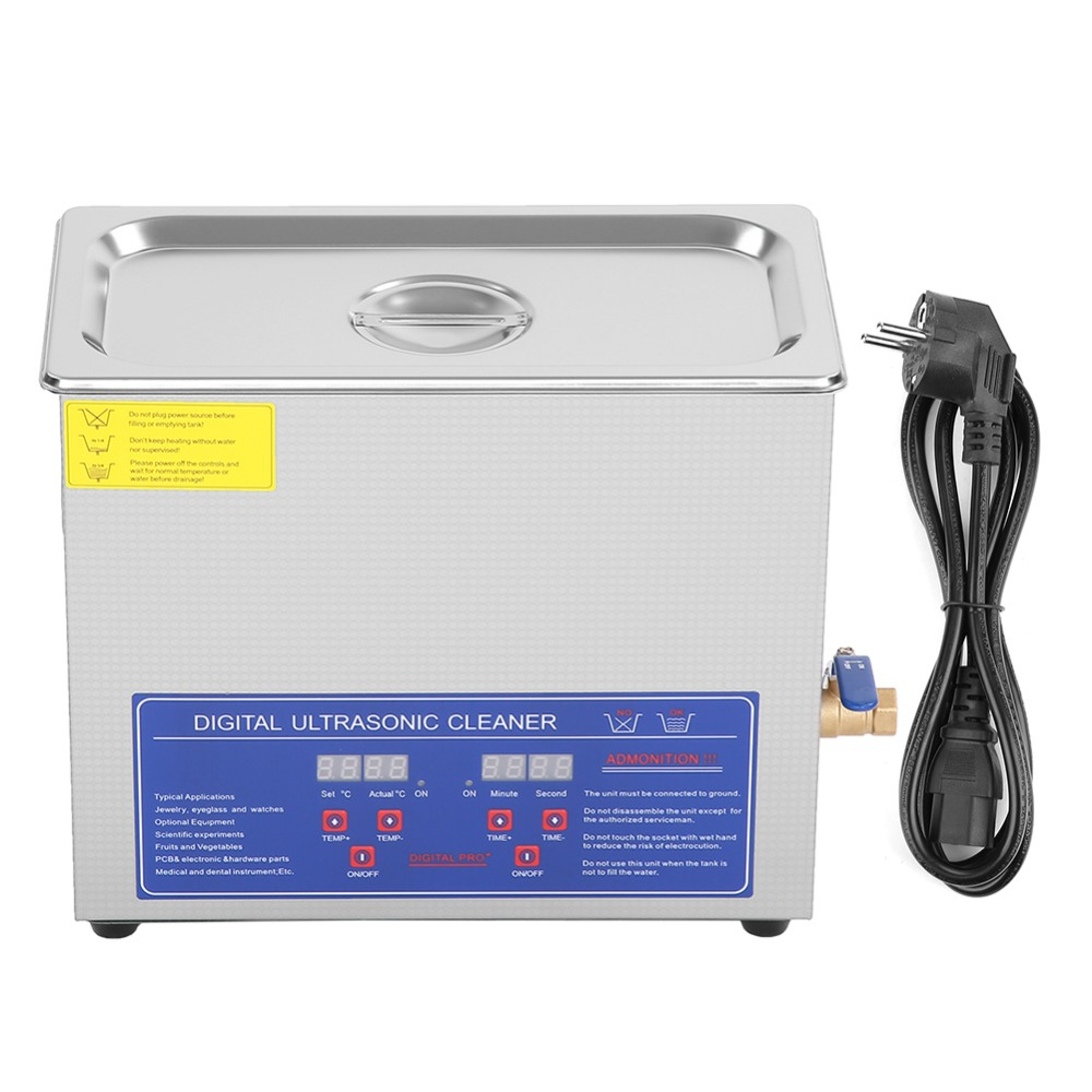 6L 220V Digital Ultrasonic Cleaner Bath Industry Heated Timer Stainless Steel Ultra Sonic Cleaning Machine Local