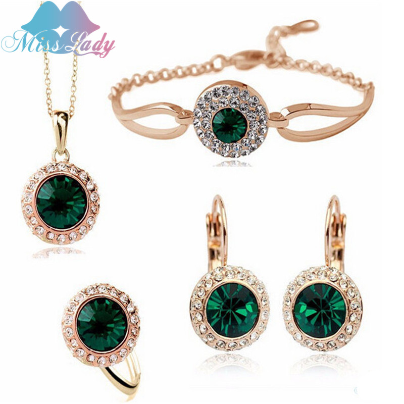 Miss Lady Gold color Rhinestone Crystal Romantic Moon Crystal Weddings Jewelry Sets Wholesales Fashion Jewelry for women Y4335