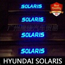 Envío libre Azul de luz LED de Acero Inoxidable Umbral de La Puerta Umbral Placa Del Desgaste Del Travesaño de La Puerta Solaris 2010-2014 Lado puerta