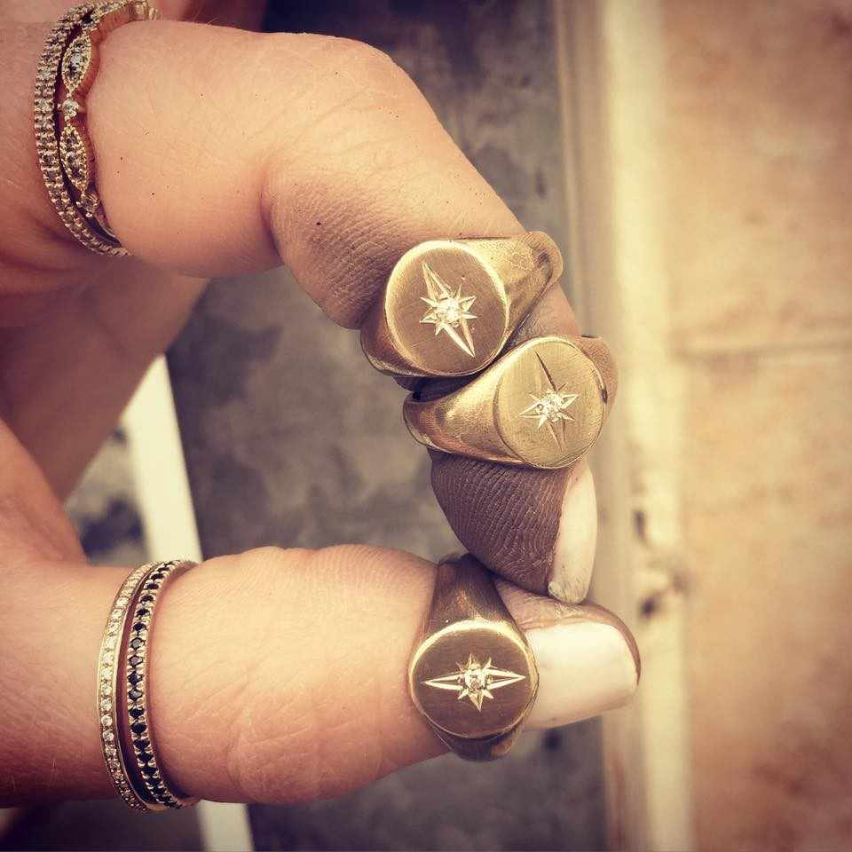 Gold Filled round geometric star ring european women ladies simple trendy Gold color rings