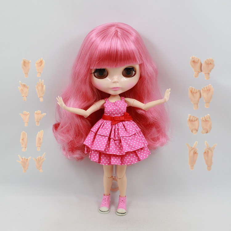 Blyth 1/6 Nude Doll Peach Pink Long curly Hair With Bangs
