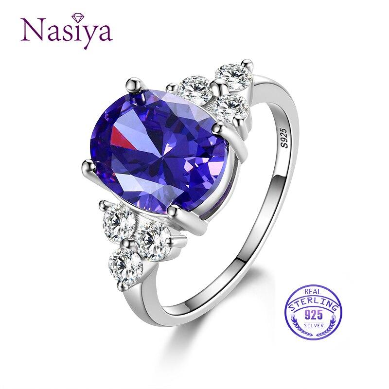 Women's Jewelry 925 Sterling Silver Ring AAAAA Mysterious Purple Zircon Oval Ring Wedding Jewelry Party Gift trek olimpia nnn ик 41 silver purple