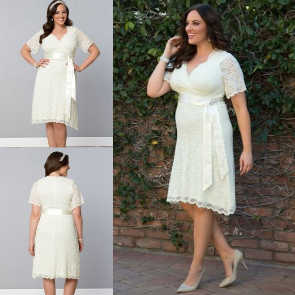 Plus Size Short Wedding Dress Ivory_Wedding Dresses_dressesss