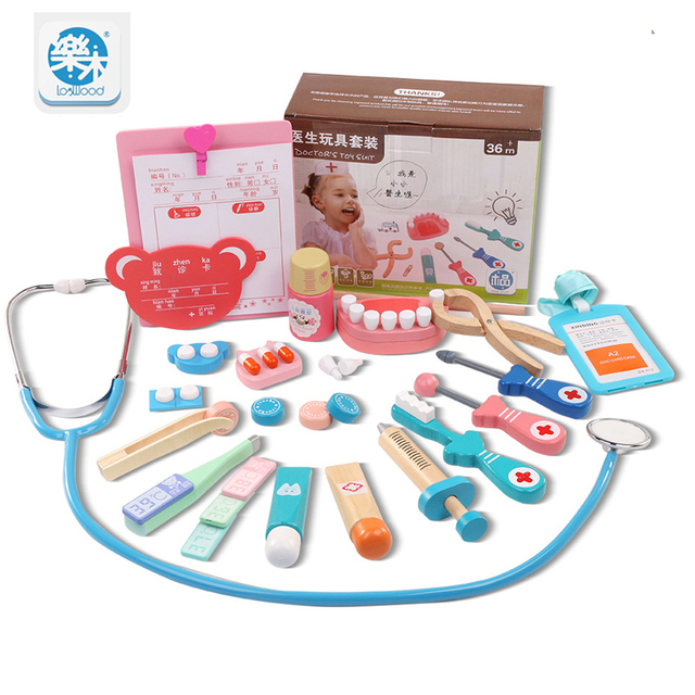 Logwood Wooden toys Real Life Funny play Cosplay Doctor game toy Dentist  Medicine BoxPretend Doctor Play 20PCS Set For Children -in Doctor Toys from