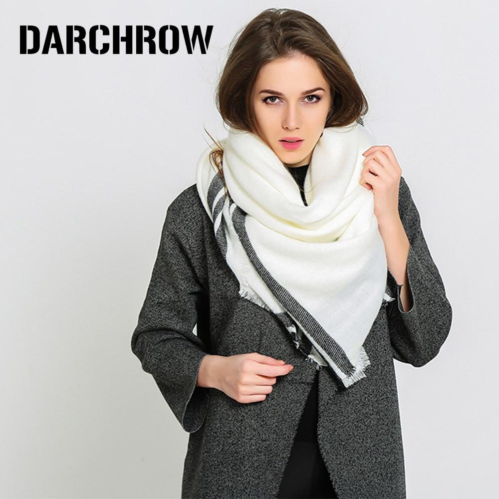 DARCHROW Winter   Scarf   Women Black White Striped   Scarves     Wraps   Fashion Female Warm Cashmere Bandana Shawls Hijab Foulard