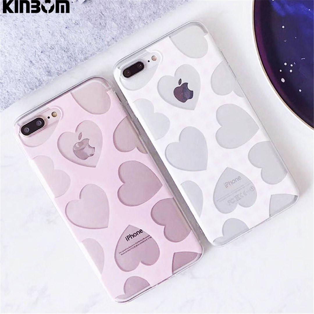 Galleria fotografica KINBOM For Iphone 6 6splus Ultra Thin Soft TPU Phone Case For Iphone 7 8plus X Back Cover Cute Candy Color Love Heart Cases Capa