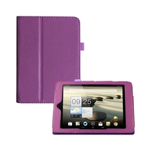 Folding Folio Leather Case Cover Stand for Acer Iconia A1 A1-810 7.9 Tablet (Purple) new kid color pretty printing buckle leather stand folio covers case for universal 10 10 1inch tablet pc