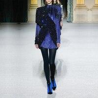 DressBird осень зима облегающее платье с длинным рукавом роскошный синий блесток платья женские вечерние ночные Vestidos Verano зимнее платье