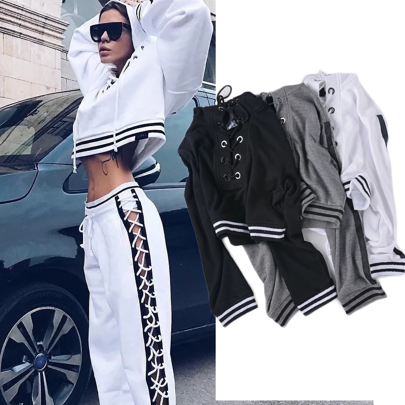 Streetwear ! Lace Up Crop Hoodies Sweatshirts & Tracksuit for Women