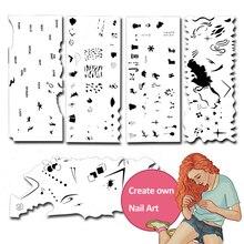 Custom Body Art Airbrush 3D Nail Art Stencil Set  with 5 Stencil Template Design Sheets (120 Designs) colopaint body art airbrush nail art stencil set 11 with 20 stencil template design sheets 260 designs