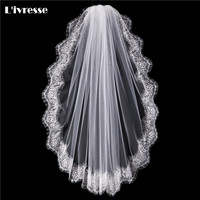 White Ivory One Layer Full Edge With Lace Short Wedding Veil With Comb Lace Voile De Mariage Hu Da Beauty Bridal Veil