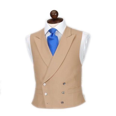 Latest Coat Designs Brown Khaki Men Vest Double Breasted Waistcoat Peak Lapel Custom Groom Prom Dinner Vests Terno Colete