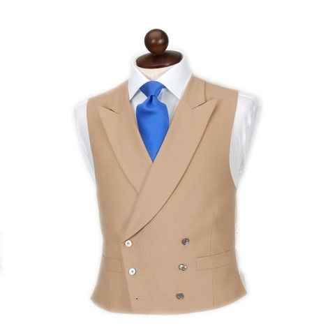 最新のコートのデザインブラウンカーキ男性ベストダブルブレストチョッキピークラペルカスタム新郎ウエディングディナーベスト Terno Colete