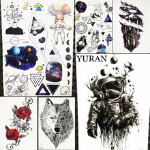 Spaceman Waterproof Tattoo Sticker For Women Body Legs Art Tatoo Arm Sleeve Astronaut Men Temporary Universe Tattoo Outer Space(China)