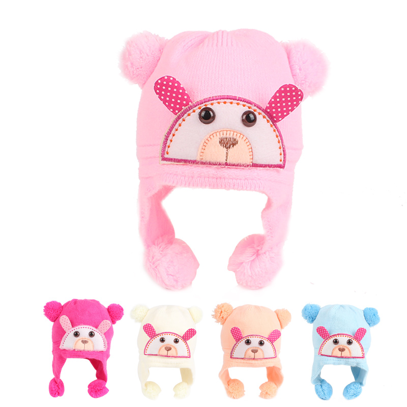 Bear Baby Hat For Newborn Cotton Warm Winter Hat Lace Up Infant Beanie Pompom Ears Soft Boys Girls Hat Baby Girls Clothing