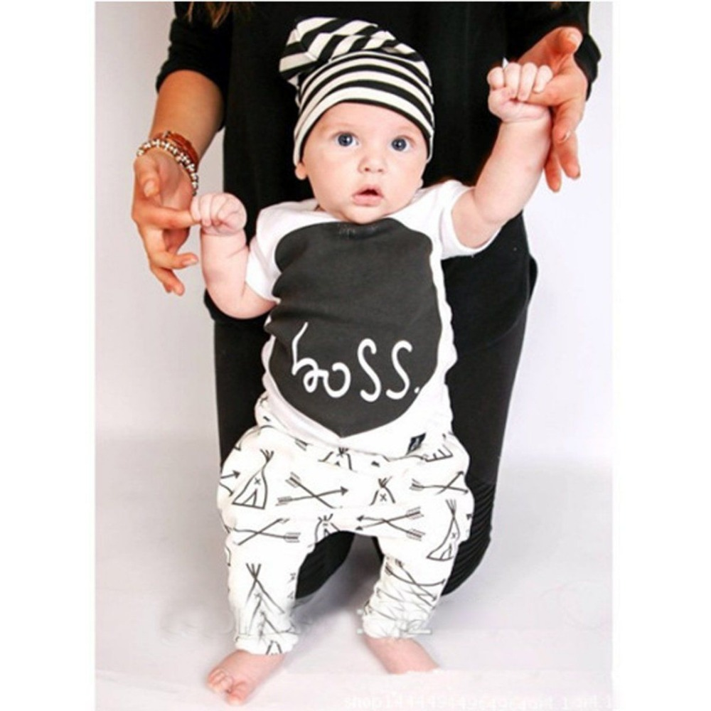 Summer Baby Boys Girls Clothes boss Cotton Cute Little ...