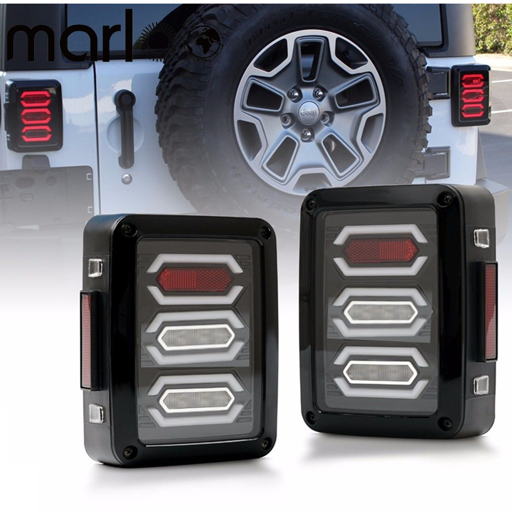 Marloo Diamond Red LED Tail Brake Light Assembly w/ Turn Signal Back Up For Jeep Wrangler JK JKU Sports, Sahara, Freedom Rubicon for jeep wrangler jk 2007 2016 tail light diamond smoke led tail light