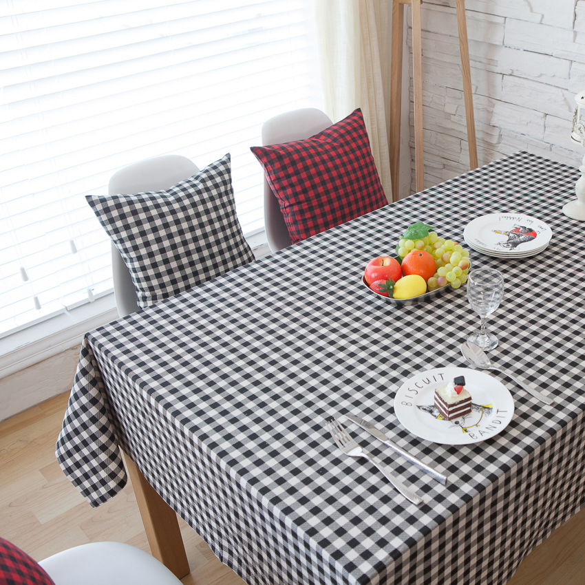 New Black White Striped Table Cloth Rectangular American Country Style  Printed Table Cover High Quality Cotton