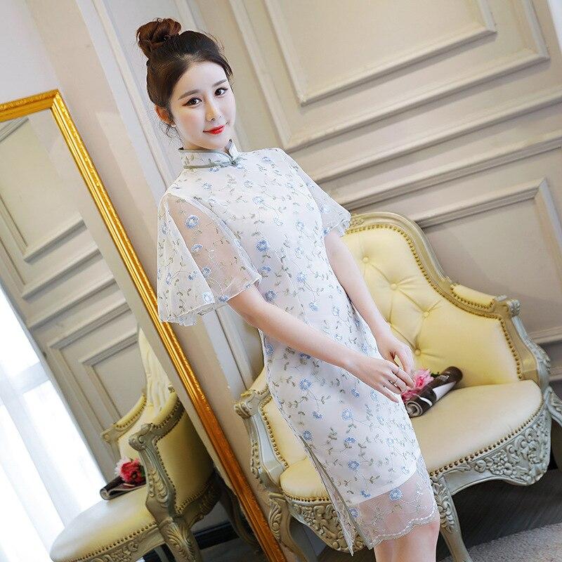 De Mode Pu D'été Mini Robes S Chinois Mince xxl Cheongsam Vintage Robe Partie Sexy Femmes 2018 Qipao Style Bouton Court Ciel rose A543RjL