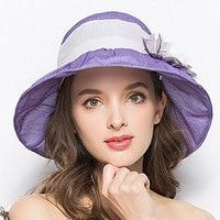 Hat, woman, summer sun hat, lady shading flower net, gauze cap, folding, big graceful graceful folding beach cap.
