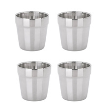MagiDeal 4pcs Stainless Steel Mini Double Layer Camping Travel Home Water Mug Cup 180ml  for picnic dinner party camping